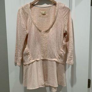 Anthro Meadow Rue Melia Peplum Blush Pink Tee - XS